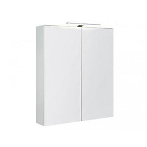 Bad Spiegelschrank Garda 60 cm 2 Doppelspiegeltüren weiß hochglänzend mit Soft-Close, Unterbeleuchtung - KAME