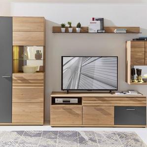 Wohnwand Set ACHAT  Farbe Natur Eiche, Wildeiche Massivholz / Teilmassiv Breite 352 cm mit Beleuchtung von Wohn-Concept