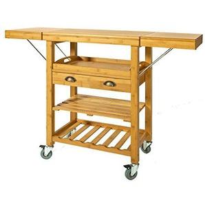 SoBuy® Servierwagen aus hochwertigem Bambus,Küchenwagen,Küchenregal, Rollwagen,B65 (95/125) xT40xH92cm, FKW25-N