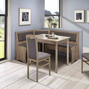 Eckbankgruppe Moni Essgruppe 165 x 125 x 82 Vierfußtisch 2 Stühle modern Eckbank Küchentisch 4-teilig Landhaus Küche Polsterung grau-braun Sonoma Eiche Sägerau Dekor