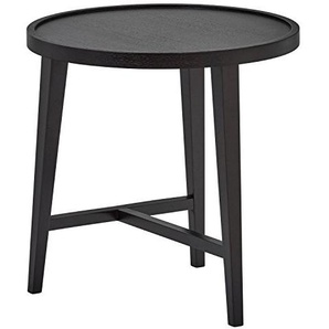 Rivet Modern Runder Satztisch aus Holz, B 52cm, Dunkle Eiche
