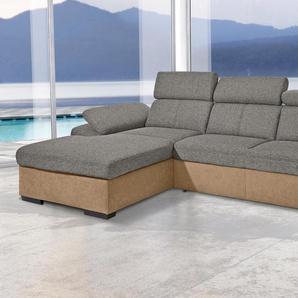 Exxpo - Sofa Fashion Eckcouch, Recamiere links, braun, B/H/T: 284x45x56cm, hoher Sitzkomfort