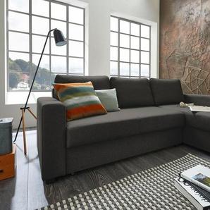 Atlantic Home Collection Ecksofa, grau, B/H: 234x43cm, hoher Sitzkomfort
