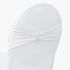 Stretch Stuhlschleife mit Brosche im Diamanten-Look für Stuhlhusse (Weiß, 25 Stück)
