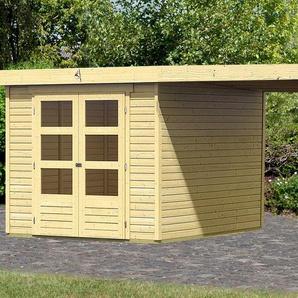 KARIBU Set: Gartenhaus »Arnis«, BxT: 486x262 cm, inkl. Anbaudach