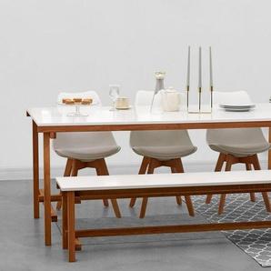 Home affaire Speisen-Set »Construction« 2-teilig, bestehend aus Tisch und Bank, weiß
