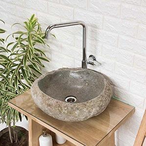 wohnfreuden Naturstein-Waschbecken 40-50 cm ? Aufsatz-Waschbecken aus Flussstein einzeln fotografiert ? Auswahl von Steinwaschbecken aus Galerie Gäste WC Bad