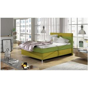 JUSTyou Iose Boxspringbett Continentalbett Amerikanisches Bett Doppelbett Ehebett Gästebett Limette | Gelb 120x200