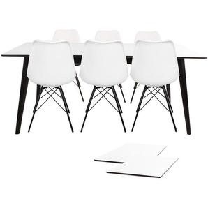 Essgruppe | Esstisch Ausziehbar Weiß 195/285 mit 6 Stühlen Weiß - Nora
