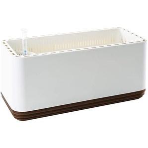 Airy Box - Luftreiniger Blumentopf für saubere Raumluft - 3200 ml - 50x22x22 cm - weiß/braun