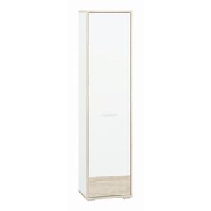 Jugendzimmer - Schrank Forks 10, Farbe: Eiche / Weiß - Abmessungen: 200 x 51 x 40 cm (H x B x T), mit 1 Tür und 6 Fächern