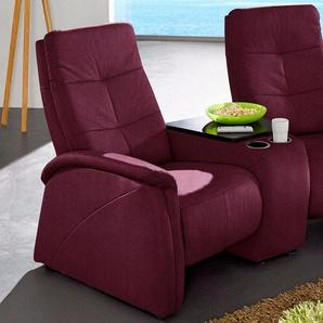 exxpo - sofa fashion 2-Sitzer, mit Relaxfunktion, integrierter Tischablage und Stauraumfach, rot, Luxus-Microfaser