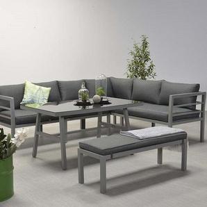 Garden Impressions Aluminium Gartenmöbel Dining-Ecklounge Lake XL, inkl. Sitzbank und Kissen anthrazit mit Sessel links