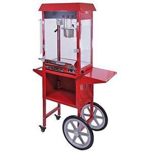 KuKoo Große Retro Party Popcornmaschine Popcorn Maker Popcornautomat mit Wagen und dekorative Innenbeleuchtung