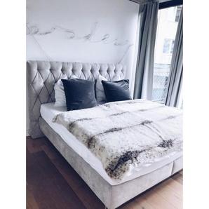 JOOP! Bett Stoffbezug Grau ca. 180 x 200 cm Taschenfederkern H2