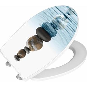 WENKO WC-Sitz Hochglanz Acryl Meditation, Absenkautomatik, Fix-Clip Hygiene Befestigung