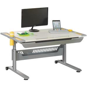Paidi: Schreibtisch, Gelb, Silber, Weiß, B/H/T 120,4 53-79 70,4