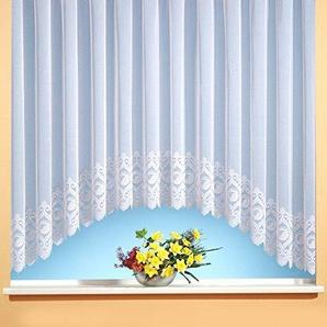 C-Bogen-Store Jacquard mit Kräuselband, halbtransparent, Farbe weiß Größe HxB 160x600 cm