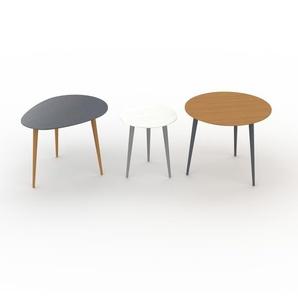 Couchtisch Eiche, Holz - Eleganter Sofatisch: Beste Qualität, einzigartiges Design - 67/40/60 x 47/44/50 x 50/40/60 cm, Konfigurator