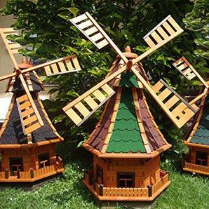 XL ÖLBAUM-Windmühle, WETTERFESTE Gartendeko für Sommer, windmühle für garten, WMB100ro+bl-EOS ohne / mit SolarBeleuchtung, Licht 1 m groß rot blau