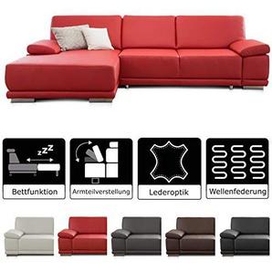 CAVADORE Ecksofa Corianne mit Bettfunktion /  Couch L-Form im modernen Design / Inkl. beidseitiger Armteilverstellung, Longchair links und Bett / 282 x 80 x 162  / Kunstleder rot