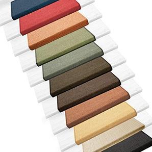 Sisal Stufenmatten im 15er Set   100 % Naturfaser in 2 Größen   sicherer Halt auf Ihrer Treppe   rechteckig 65x24 cm mit Lippe - dunkelbraun