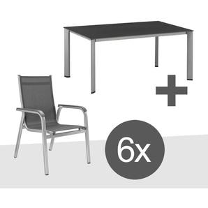 Kettler Basic Plus Stapelsessel-Gartenmöbelset 7-teilig Aluminium/Textilene mit Gartentisch 160x95 cm Silber/Anthrazit
