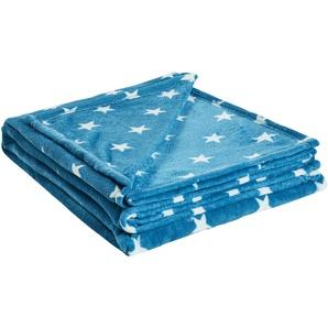 HOME STORY Coralfleecedecke  Sterne | blau | 100% Polyester | 150 cm | Möbel Kraft