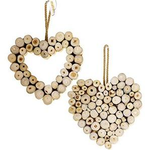 matrasa Dekoherz aus Holz zum hängen - Landhausstil - Hängedeko Holz Herz - 25x26 cm Volles Herz