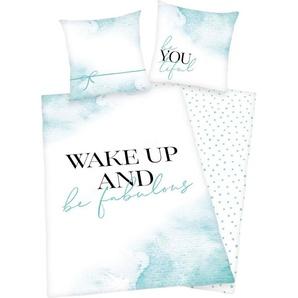 Jugendbettwäsche »Wake up«, Herding Young Collection, mit collem Schriftzug