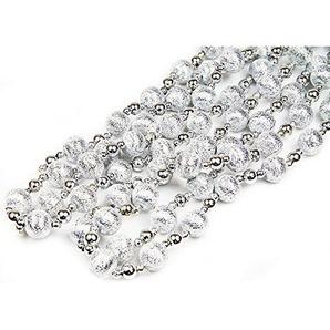 Perlen Girlande Tannengirlande Weihnachtsgirlande Weihnachts Dekoration 2,7 m (Silber)