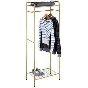 Relaxdays Kleiderständer mit Ablage SANDRA, Metall, Garderobenständer, mit Kleiderstange, Schuhablage auch für Stiefel, HBT: 166 x 60,5 x 38 cm, honig-braun