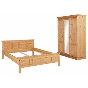 Home affaire Schlafzimmer-Set »Indra«, (Set, 2-tlg), bestehend aus 140er Bett und 3-türigem Schrank, beige