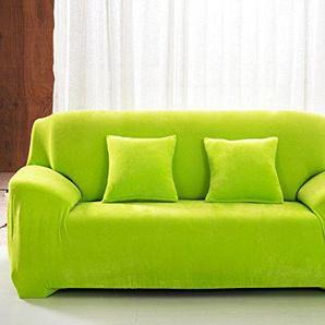 Stretch-Sofaüberzug für 1/2/3/4-Sitzer, einfarbig, Samt, leicht anzupassen, elastischer Stoff, grün, 2 Seater:145-185cm