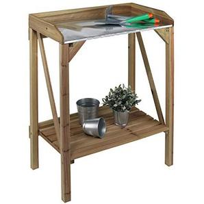 #11 Pflanztisch 70x40 cm aus Tannenholz mit verzinkter Arbeitsfläche • Blumen Tisch Beistelltisch Gartentisch Arbeits Werktisch Holz