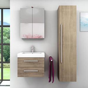Badmöbel Set City 101 V4 braun Eiche Badezimmermöbel, Waschtisch 60cm -16732- mit 1x 5W LED Strahler und 1x Energiebox - ACQUAVAPORE