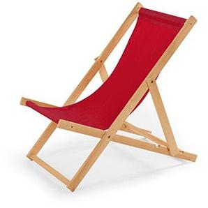 Gartenliege aus Holz Liegestuhl Relaxliege Strandstuhl (Rot)
