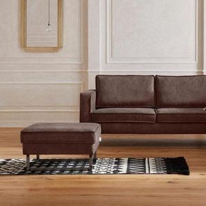 Guido Maria Kretschmer Home&Living Ecksofa »Toulouse«, mit offenen Kedernähten, Metallgestell und losen Kissen, braun, Luxus-Microfaser