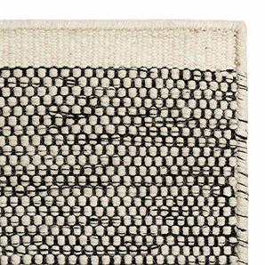 URBANARA Teppich Kolong - 100% Reine Woll-Baumwoll-Mischung, Eierschale/Schwarz, handgewebt – 140 x 200 cm, Wollteppich, Wohnteppich, Schlafzimmer-Teppich, Wohnzimmer-Teppich, Kinderzimmer-Teppich