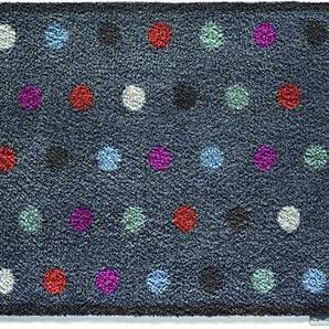 Hug Rug Fußmatte T120, umweltfreundlich, saugfähig, für den Innenbereich, waschbar, 64,8cm x 85,1 cm, Motiv: Getopfte Herzen, blau, 25.5-Inch x 33.5-Inch