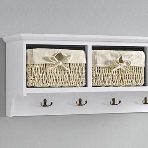 Wandgarderobe  mit 3 Körben, weiß, Gr. 30/80/25 cm,  home