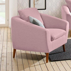 Home affaire Sessel »Amadeo«, im skandinavischem Design, lose Rückenkissen, rosa, Struktur fein