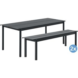 Muuto Linear Gartenset Tisch 200x80 + 2 Bänke