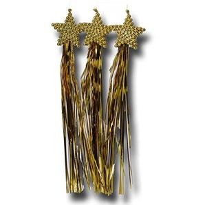 6 x Deko 130327 Stern mit Lametta Weihnachtsdekoration Gold, 3er Pack (6 x 3 Stück)