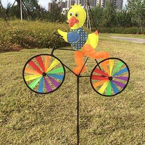wiffe Cute 3D Tier auf Fahrrad Windmühle Whirligig Garten Rasen Yard Decor Wind Spinner #7 multi