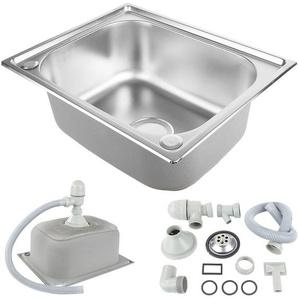 Küchenspüle .Spülbecken aus gebürstetem Edelstahl.50*40*20cm - WYCTIN