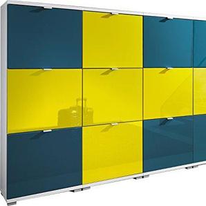 Germania 8727-84 Colorado Schuhschrank EM Set Schweden, MDF Hochglanz / Spanplatte, weiß / blau / gelb, 30 x 212 x 132 cm