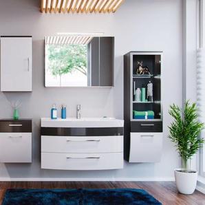 Badmöbel komplett Set weiß Anthrazit Hochglanz inkl. Waschbecken und Beleuchtung Rima 5-teilig