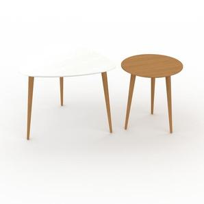 Couchtisch Eiche, Holz - Eleganter Sofatisch: Beste Qualität, einzigartiges Design - 59/40 x 47/44 x 61/40 cm, Konfigurator