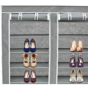 Stoffschrank, Stoff-Garderobe, 2 Türen, Schuhschrank, 114 x 110 x 28 cm, Grau, Gewicht: 3 kg - TODECO